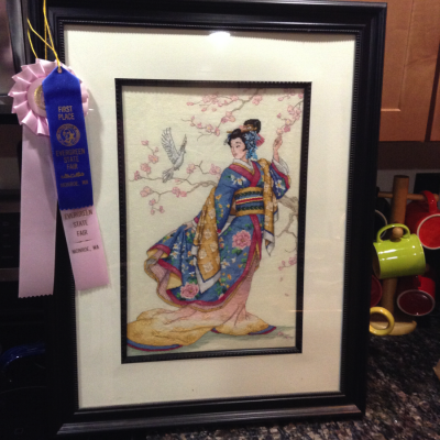 One of Beckley's prize winning cross-stitch designs.