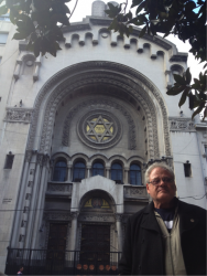 Foster in front of an historic synagogue in Buenos Aires.