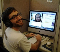 Portuguese student Kent Kinzer Skyping with a Brazilian student of English
