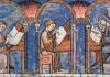 """Jewish scribes depicted in the famous Libro de los juegos (""""Book of games"""")"""